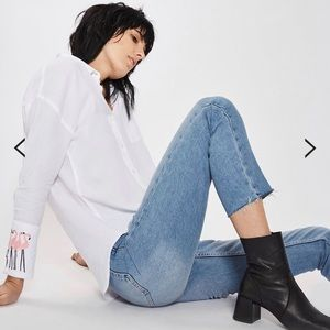 "Light Blue Raw Hem ""Moto"" Jeans by Topshop"